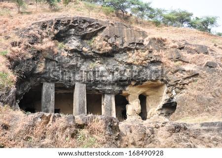 Hindu Temple, Elephanta Island, near Mumbai (India) - stock photo