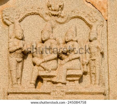 hindu temple , Hampi, India  - stock photo