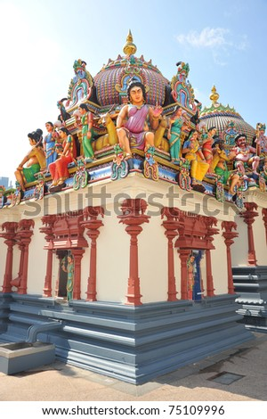 Hindu Temple With Colorful Deities Statues