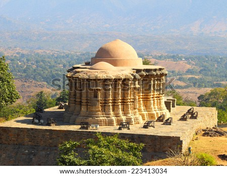 hinduism temple in kumbhalgarh fort - rajasthan india - stock photo