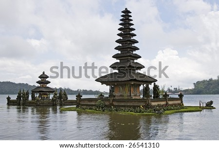 Hinduism temple Pura Ulundanu Betaran, pagoda on lake, Bali, Indonesia