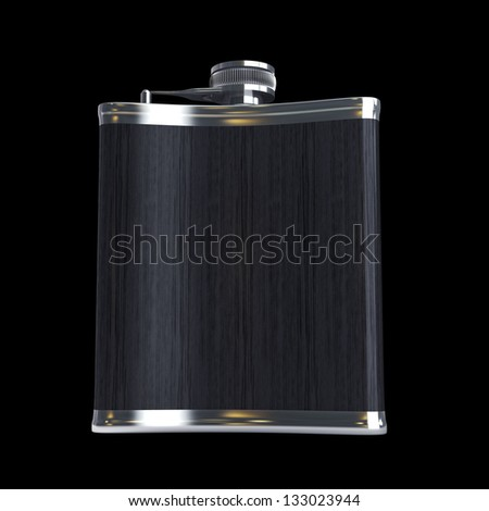 Hip flask isolated on black background. High resolution 3d render - stock photo
