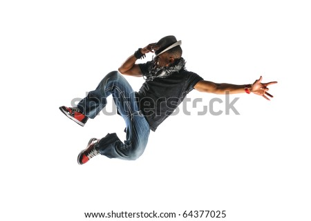 Hip Hop Dancer Jumping wearing a hat and isolated on a white background