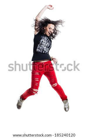 Hip-hop dancer on a white background - stock photo