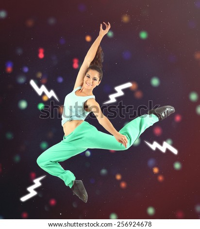 Hip hop dancer portrait on bright background