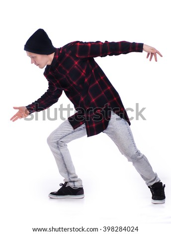 Hip hop dancer showing some movements (isolated on white)