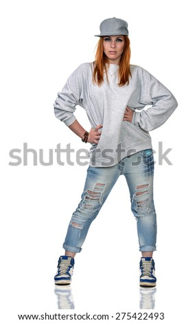 Hip-hop girl isolated on white