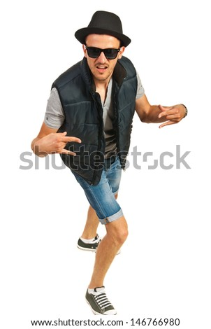 Hip hop man with cap gesturing isolated on white background