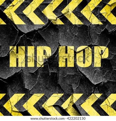 hip hop music, black and yellow rough hazard stripes - stock photo