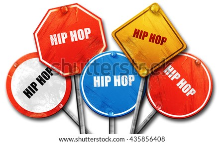 hip hop music, 3D rendering, rough street sign collection - stock photo