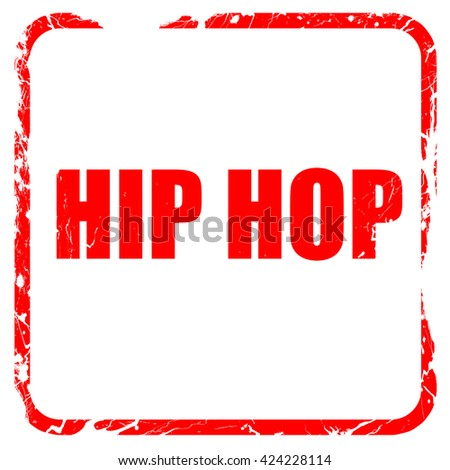 hip hop music, red rubber stamp with grunge edges - stock photo