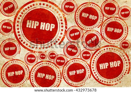 hip hop music, red stamp on a grunge paper texture - stock photo
