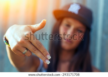 Hip hop rap girl - stock photo