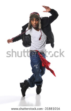 Hip-Hop style dancer performing isolated on a white background - stock photo