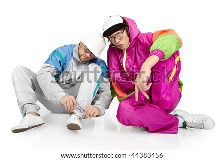 Hip-hop style dancers posing - stock photo
