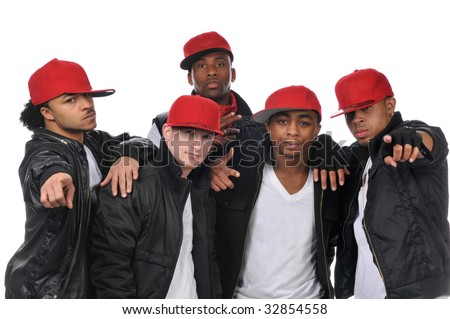 Hip Hop style dancers posing wearing red hats - stock photo