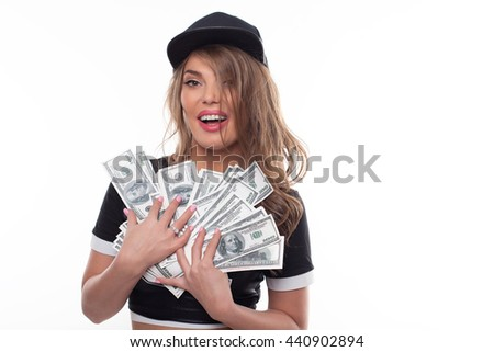 hip hop woman with money emotion portrait on a white background isolated