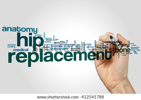 Hip replacement word cloud concept - stock photo