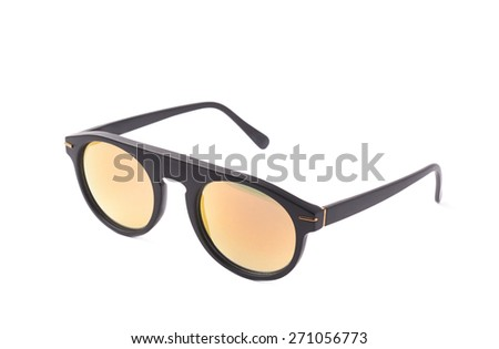 Hip yellow glasses in a plastic black frame isolated over the white background