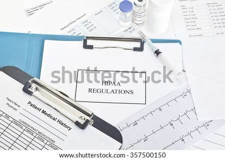 HIPAA regulations with documents. Dates, amounts, serial numbers, etc are random and there is no information about any actual person or entity.