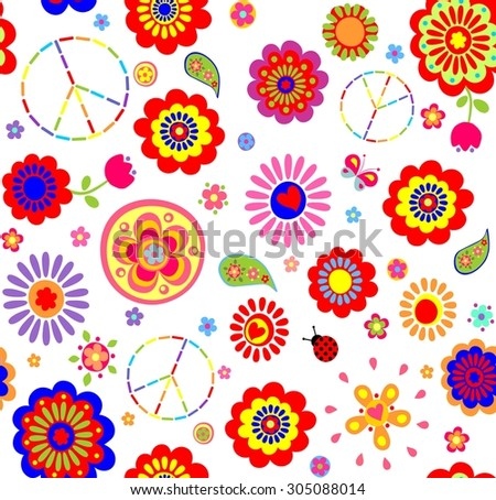 Hippie childish colorful wallpaper - stock photo