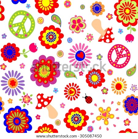 Hippie childish colorful wallpaper with mushrooms - stock photo
