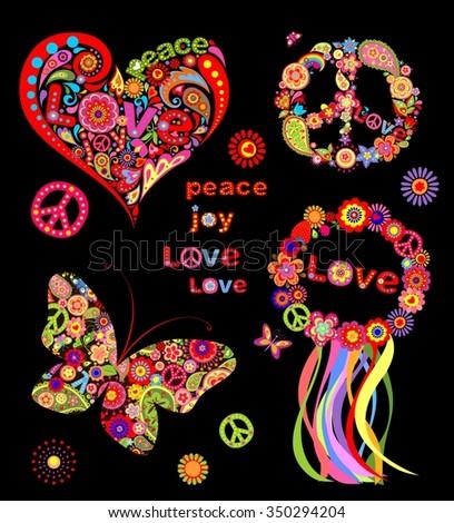 Hippie design - stock photo