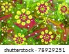Hippie inspired image of flower power gone wild.  Movement is shown in the jetstream of green and yellow color swirls.  Flower shapes fly through the air and white polka dots float across surface. - stock vector