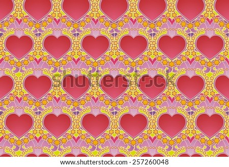 Hippie Sixties style hearts and stars - stock photo