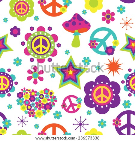 Hippie style psychedelic elements seamless pattern - stock photo