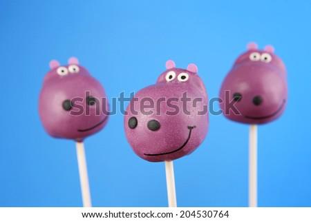 Hippo cake pops - stock photo