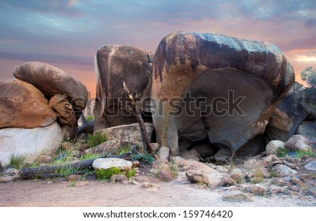 Hippo's Yawn, little rock near Wave Rock, Australia - stock photo