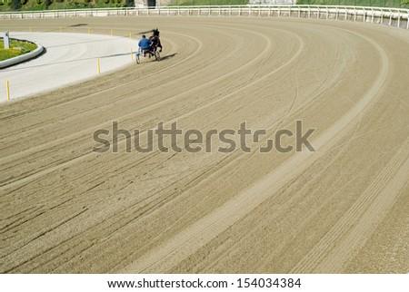 Hippodrome. Trotting race - stock photo