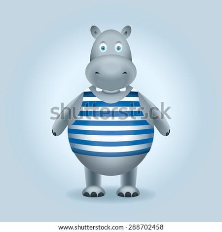 Hippopotamus. Hippo in the vest - stock photo
