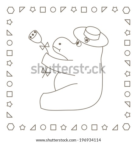 Hippopotamus with flower. Coloring page. Coloring book. - stock photo