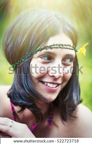 Hippy girl - 1970 style vintage image with artifacts