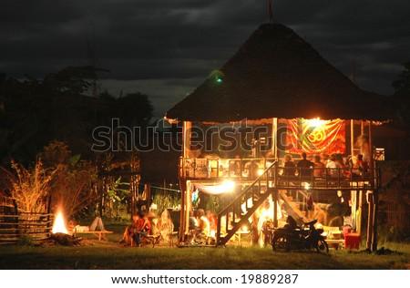 Hippy Hut Night Thailand - stock photo