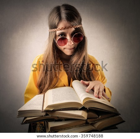 Hippy student - stock photo