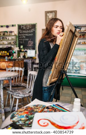 hipster artist paints painting defocused cafe stock photo edit now
