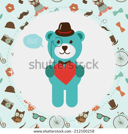 Hipster  Bear Head greeting card design illustration. In Textured Frame and Hipster Pattern