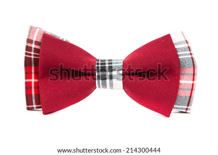 hipster bow tie red and black on an isolated white background - stock photo