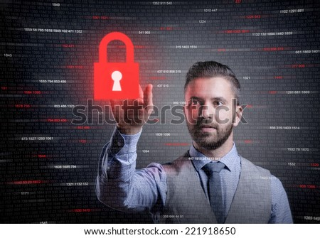 Hipster businessman showing concept of online business security on virtual screen - stock photo