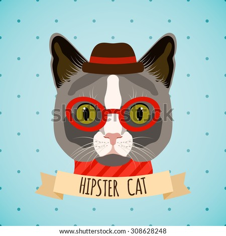 Hipster cat with glasses and hat portrait with ribbon poster  illustration. - stock photo