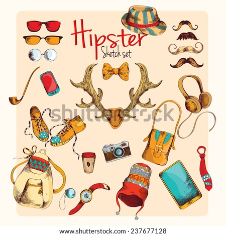 Hipster character pack sketch decorative icons colored set with horns gumshoes cap isolated  illustration - stock photo