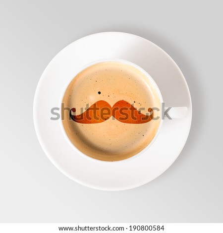 hipster coffee. cup of fresh espresso with moustache sign, view from above - stock photo