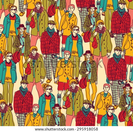 Hipster fashion crowd people color. Happy people in big crowd. Seamless pattern. Color  illustration. - stock photo