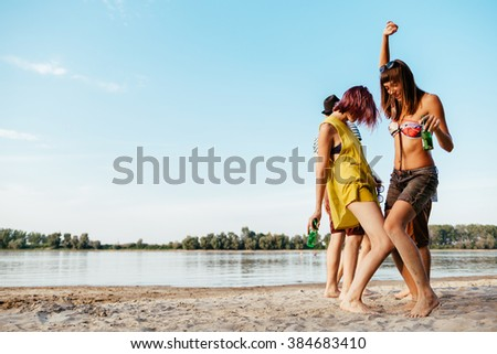 Hipster Friends Having Party At The Beach - stock photo
