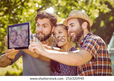 Hipster friends taking a selfie on a summers day - stock photo