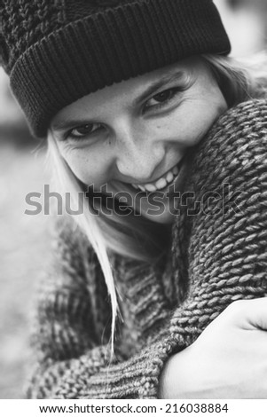 Hipster girl, black and white portrait - stock photo
