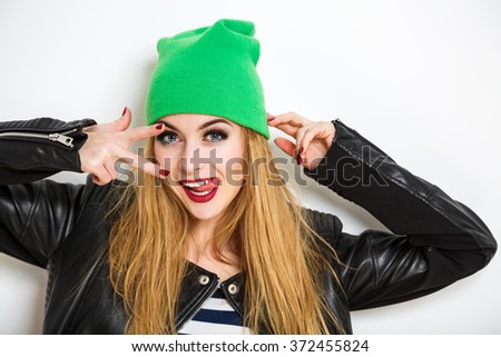 Hipster Girl in Beanie Hat on White Background
